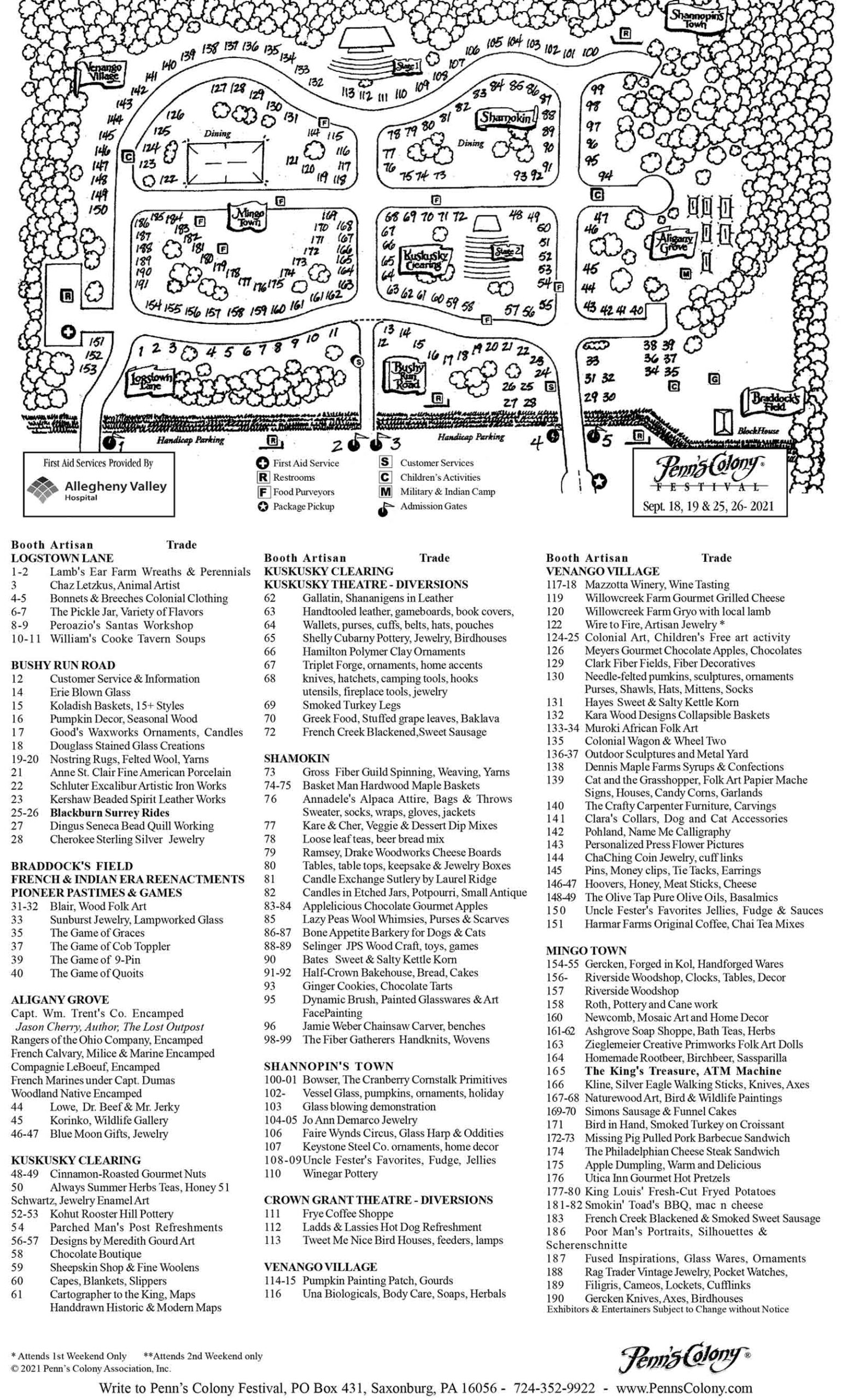 Penns' Colony 2021 Show Program Exhibitors map